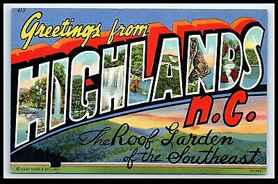 NC Highlands - Large Letter Greeting Postcard