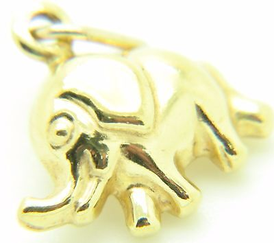 9ct 9Carat Yellow Gold Detailed Baby Elephant Pendant or Traditional Charm