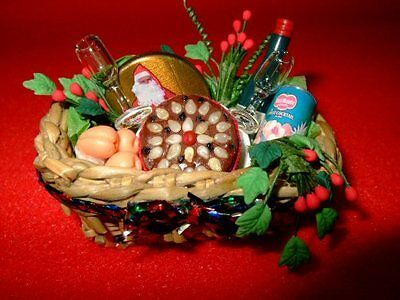 Doll House 1/12Th Scale Christmas Hamper In A Basket