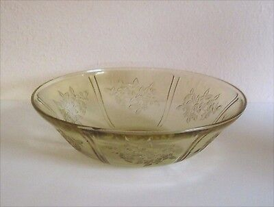 Sharon Cabbage Rose Amber Lg. Berry Bowl Federal Depression Glass