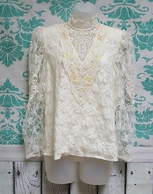 Vintage Scott McClintock Victorian Style Lace Blouse High Neck Sheer Sleeves