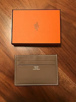New In Box Hermes Citizen Twill Card Holder Etoupe Swift Leather