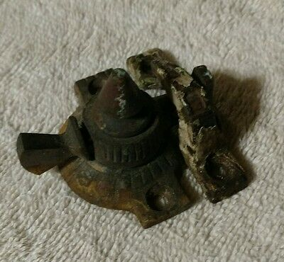 Antique Cast Window Lock, brass and iron