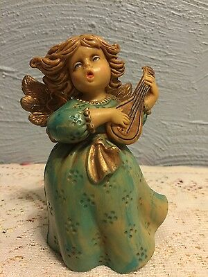 Angel Playing the lute wood tone Made in Italy 398