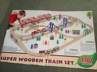 Wooden train set compatible with Thomas the Tank