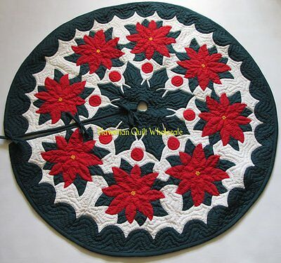 Hawaiian quilt  CHRISTMAS TREE SKIRT 100% hand quilted/100% hand appliquéd 42""