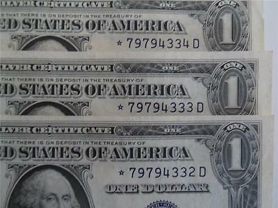 3 Consecutive 1935E Silver Certificate $1 Star Notes - Crisp Unc