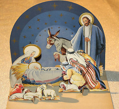Fold Up Paper Nativity Scene Christmas Decor Vintage 1933