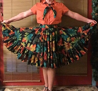Fall Skirt & Blouse Square Dance Outfit - Belt & Tie included