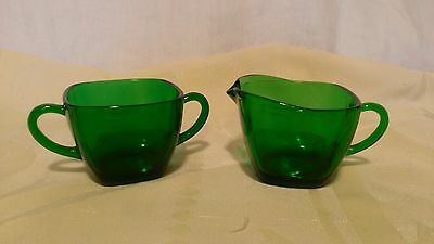 Vintage 1940's Forest Green Charm Glass Creamer & Sugar Anchor Hocking