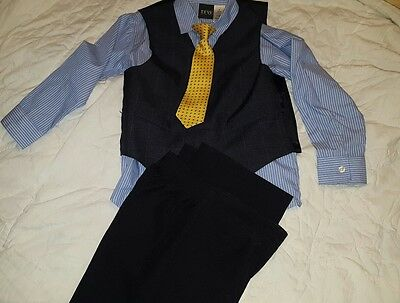 TFW boys 4 piece suit dark navy pinstripe long sleeve shirt vest yellow & blue 7