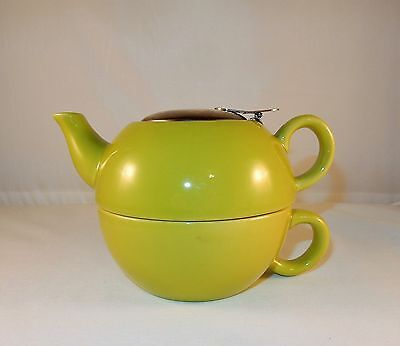 Nantucket Home Nesting Chartreuse Tea For One Teapot And Cup - VGC