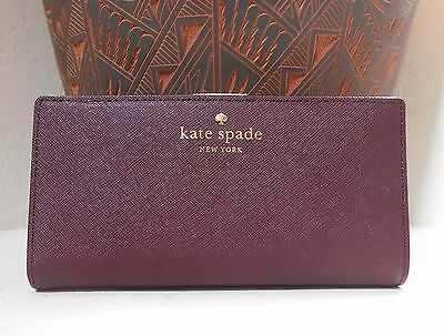 NWT Kate Spade Mikas Pond Stacy Saffiano Leather Wallet Mulled Wine New