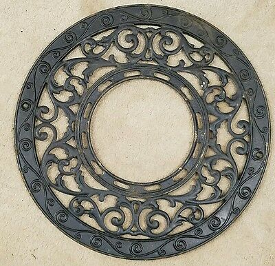 "Antique Victorian Round Cast Iron Grate Floor Heat Register 15.5"" dia."
