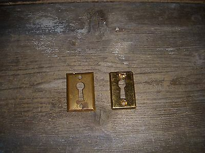 2 Vintage Light Brass Metal Door Lock Skeleton KEY HOLE COVER Back Plates