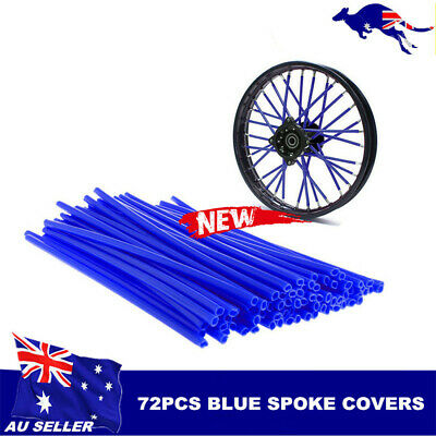 72pcs Blue  Wheel Spoke Skin Cover Wrap Kit 4 Motorcycle Motocross Dirt Bike AU