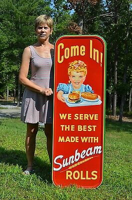 Vintage Sunbeam Bread Sign Scarce Pink Bow In Hair W/ Hamburger Hot Dog Super!