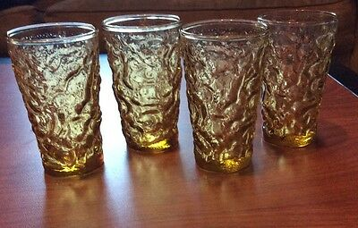 4 Vintage Anchor Hocking Lido Milano Amber Yellow Gold 4 Ounce Juice Glasses