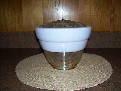 Vintage Art Deco 30's Kitchen/Hall/Porch Ceiling Light White/Clear Glass Shade