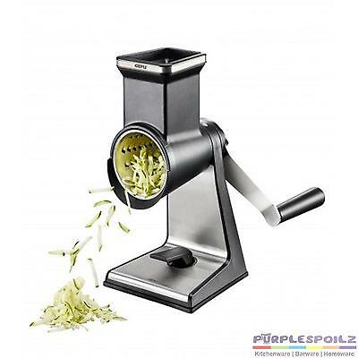 NEW GEFU TRANSFORMA ROTARY GRATER 3 DRUMS Grate Shred Slice STAINLESS STEEL