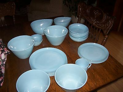 23  Pieces   Fire  King Turquoise Blue Bowls Plates Sugar