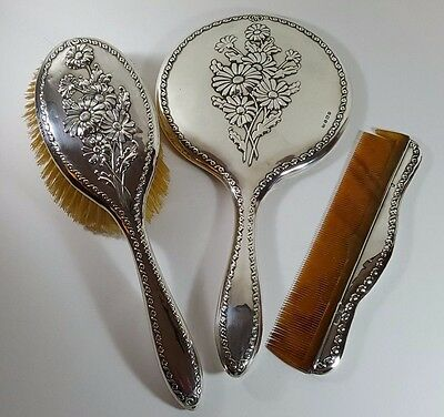Antique Hm Silver Vanity Set Hairbrush Hand Mirror Comb - Oxeye Daisy 1914