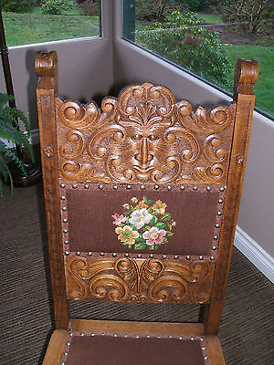 Carved oak chair Black Forest germany Vintage antique