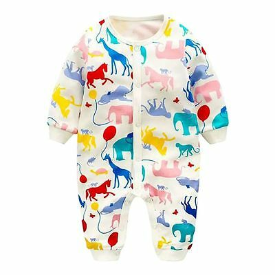 0-24M Newborn Baby Boys Girls Romper Clothes Long Sleeve Jumpsuit Baby Clothes