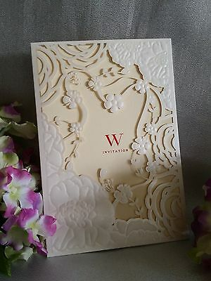 1/10/50/100 Pearl Ivory Laser Cut Wedding Invitation Cards with Insert, Envelope