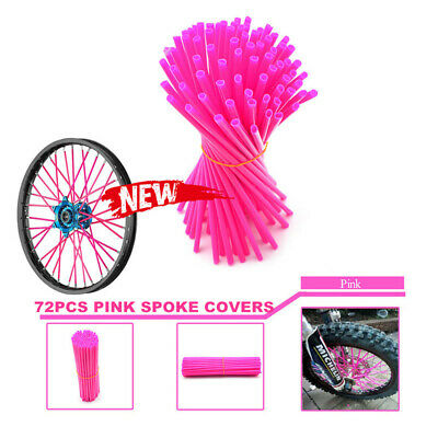 72Pcs Spoke Wraps Covers Pink suit Suzuki Yamaha Honda Kawasaki KTM