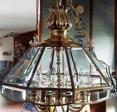 Lg. Modern Elegant Polished Brass Chandelier 10 Beveled Glass Panes, 2 Tier