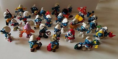 Vintage Smurfs Cartoon Figurines Set Of 29 From 1977-1981