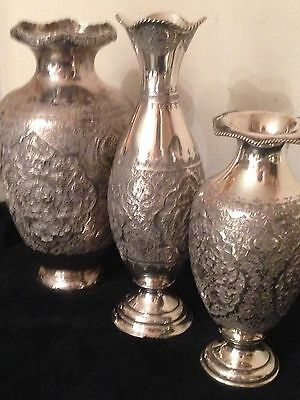 Antique Islamic Arabic Persian Style Solid Silver Vases X3