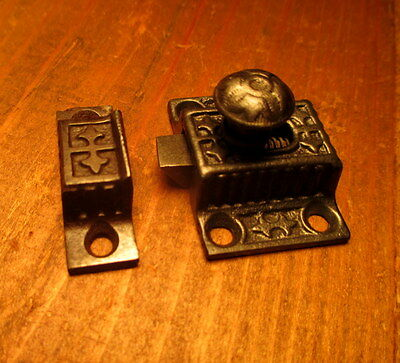 Vintage Ornate Victorian Cast Iron Cupboard Door Latch Antique Hardware