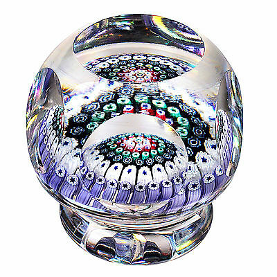 1973 WHITEFRIARS Six Ring Concentric Millefiori Piedouche Paperweight