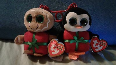 """Ty Beanie Boo - Christmas Ornaments - 2 piece lot -  4"""" Clip - Chill & Sweetsy"""