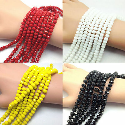4/6/8/10mm New Rondelle Faceted Crystal Glass Loose Spacer Beads Wholesale