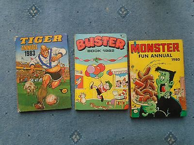 Buster annual 1982 Monster Annual1980 Tiger Annual 1983