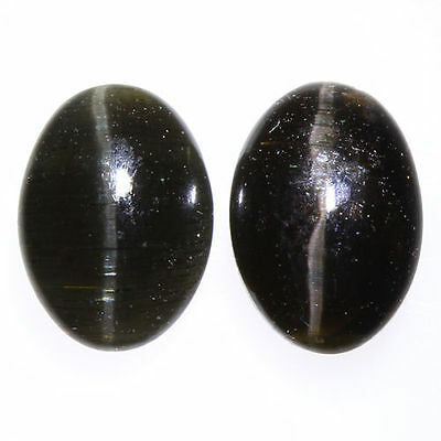 2.200 Ct VERY RARE FINE QUALITY 100% NATURAL SILLIMANITE CAT'S EYE INTENSE PAIR!