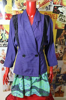 Vintage 1980's Purple & Black Fitted Jacket By Quee Of Melbourne Size 10