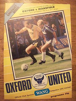 Football Programme: Oxford United v Mansfield Town - League Cup 2nd Round 1987