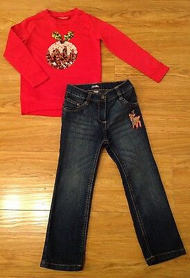 Girls Long Sleeved Xmas Pudding Top And Jeans Outfit - Age 4