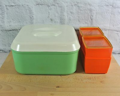 Vintage Green Bartone Retro Kitchen Canister + 3 Orange Nally Ware Containers