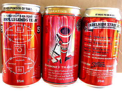 Collectable Beer Cans -  Set of 3 West End Draught : SANFL, 150 Years, Strikers