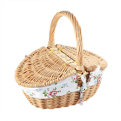 High Quality Rustic Type Wicker Camping Picnic Basket Shopping Storage Hamper