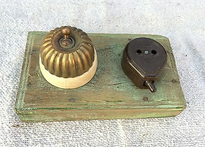Antique Vitreous Melon Shape Electric Switch & Plug With Wooden Fitting,england