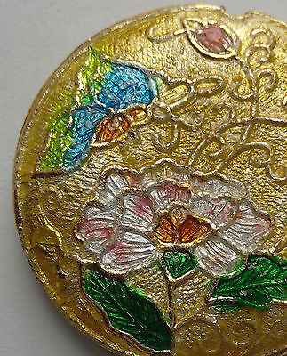 Round Cloisonne Focal Bead, Peony/Butterfly, Gold/Pink, 32mm, Jewellery Making
