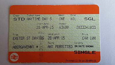 National Rail Ticket For April 28 2015 Exeter St. David's To Abergavenny