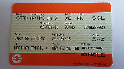 National Rail Single Ticket For February 2 2016 Cardiff Cent. To Merthyr Tydfil
