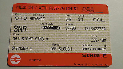 National Rail Single Tickets For Oct 6 2014 Maidstone-Paddington- Swansea Snr